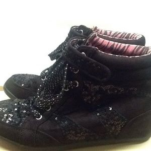 Black High Top Wedge Sneakers By JUSTICE